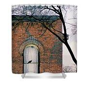 Brick Building Window With Bird Shower Curtain