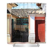 Brick House With Iron Gate Shower Curtain