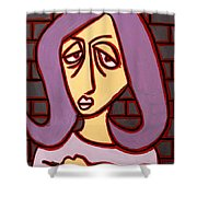Brick Lady Shower Curtain