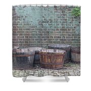 Brick Wall And Barrels Shower Curtain
