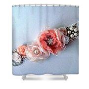 Bridal Sash Belt With Flowers And Rhinestones Shower Curtain
