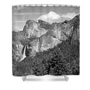 Bridalveil Falls From Tunnel View B And W Shower Curtain