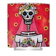 Bridezilla Dia De Los Muertos Shower Curtain