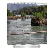 Bridge Across Mountain River Shower Curtain