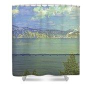 Bridge Across The  Lake Shower Curtain