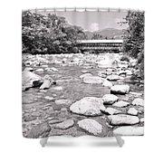 Bridge And Mountain Stream In Black And White Shower Curtain