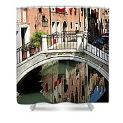 Bridge And Reflection Venice, Italy Shower Curtain