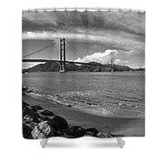 Bridge And Sea Black And White Shower Curtain