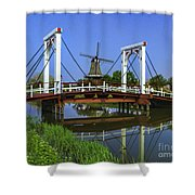 Bridge And Windmill Shower Curtain
