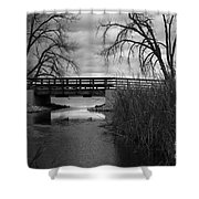 Bridge In Black And White Shower Curtain