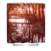 Bridge In Red Shower Curtain