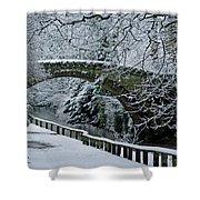 Bridge In Snow Shower Curtain