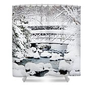 Bridge In Winter Snow Shower Curtain