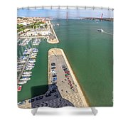 Bridge Of 25 April Panorama Shower Curtain