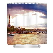 Bridge Of Alexandre IIi And Eiffel At Violet Sunset Shower Curtain
