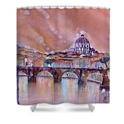 Bridge Of Angels - Rome - Italy Shower Curtain