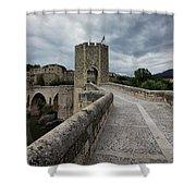 Bridge Of Besalu, Girona Provence, Catalonia, Spain-2 Shower Curtain
