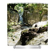 Bridge Over The River Braan, And The Black Falls In The Hermitage, At Dunkeld Shower Curtain