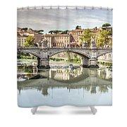 Bridge Over The River Tevere, Rome, Italy Shower Curtain