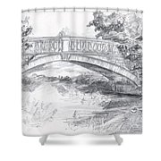 Bridge Over The River White Cart Shower Curtain