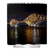 Bridge Over Water Lights. Shower Curtain