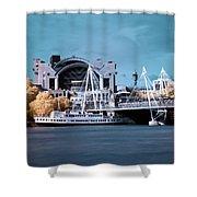 Bridge To Charing Cross Shower Curtain by Helga Novelli
