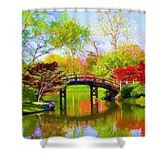 Bridge With Red Bushes In Spring Shower Curtain
