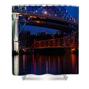 Bridges Red White And Blue Shower Curtain
