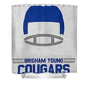 Brigham Young Cougars Vintage Football Art Shower Curtain
