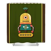 Bright And Colorful Robot Toy Shower Curtain