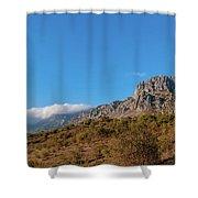 Bright Autumn Panorama Demerji Crimea Peninsula Shower Curtain