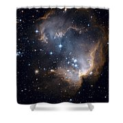 Bright Blue Newborn Stars Blast A Hole Shower Curtain