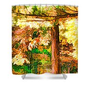 Bright Colored Leaves On The Branches In The Autumn Forest Shower Curtain