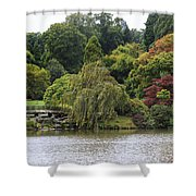Bright Colors Of Autumn Trees On A Lake , Autumn Landscape. Shower Curtain