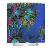 Bright Daisies In Blue Shower Curtain