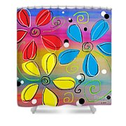 Bright Flowers Intertwined Shower Curtain
