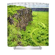 Bright Green Asbyrgi Canyon In Iceland Shower Curtain