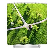 Bright Green Spring Meadow Aerial Photo Shower Curtain