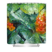 Bright Orange Blooms On A Plant Shower Curtain