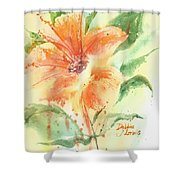 Bright Orange Flower Shower Curtain