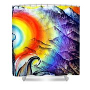 Bright Rainbow And Mountains. Cyborg's Land Shower Curtain