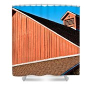 Bright Red Barn Shower Curtain