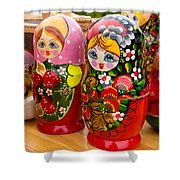 Bright Russian Matrushka Puzzle Dolls Shower Curtain