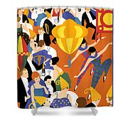 Brightest London Vintage Poster Restored Shower Curtain