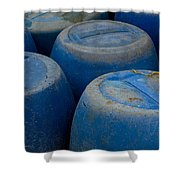 Brightly Colored Blue Barrels Shower Curtain