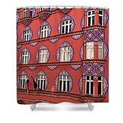 Brightly Colored Cooperative Business Bank Building Or Vurnik Ho Shower Curtain