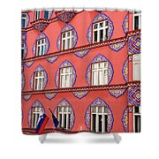 Brightly Colored Facade Of Cooperative Business Bank Building Or Shower Curtain