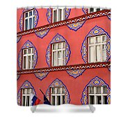 Brightly Colored Facade Vurnik House Or Cooperative Business Ban Shower Curtain