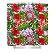 Brightly Colored Tropical Flowers And Ferns  Shower Curtain