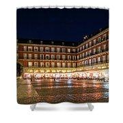 Brightly Lit Midnight - Plaza Mayor In Madrid Spain Shower Curtain